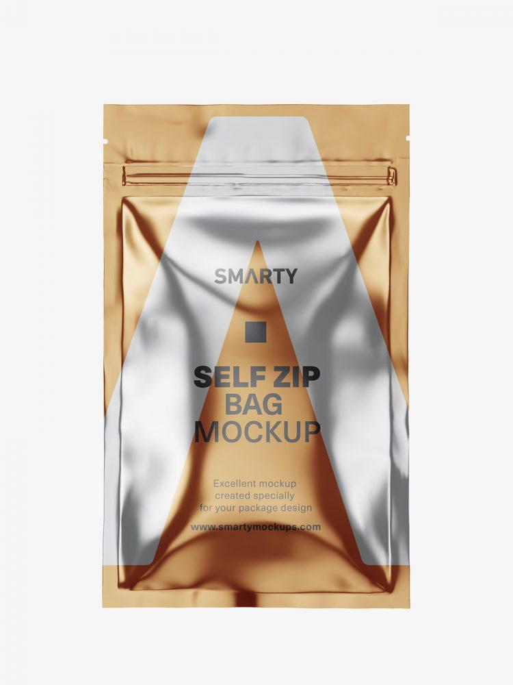 Self zip foil bag mockup / metallic