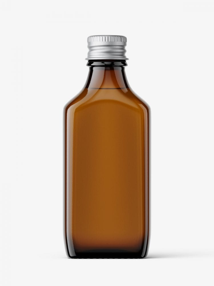 Rectangle bottle with silver cap mockup / amber