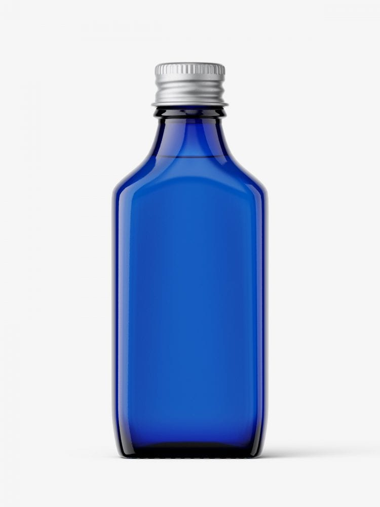 Rectangle bottle with silver cap mockup / blue