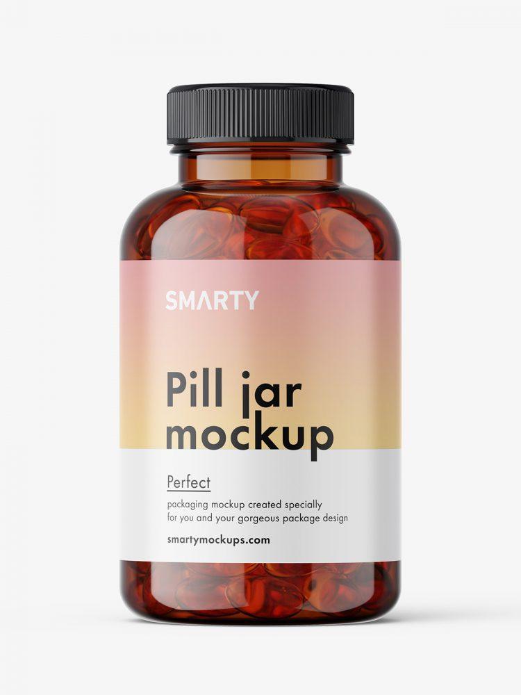 Jar with fish oil capsules mockup / amber