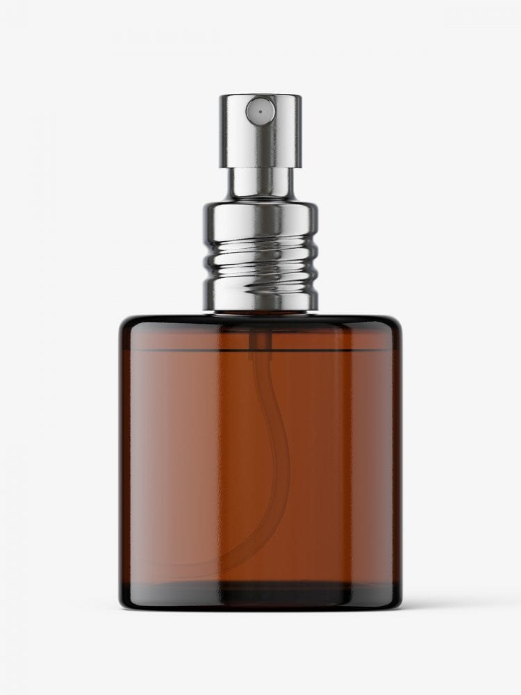 Amber glass perfume bottle mockup
