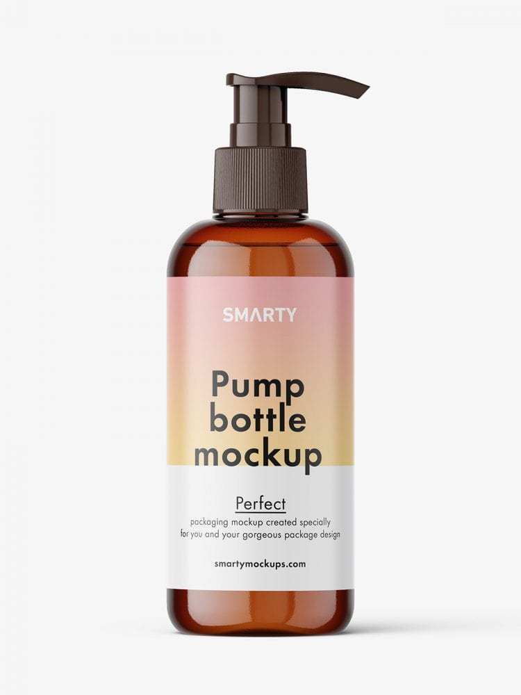 Cosmetic bottle with pump mockup / amber