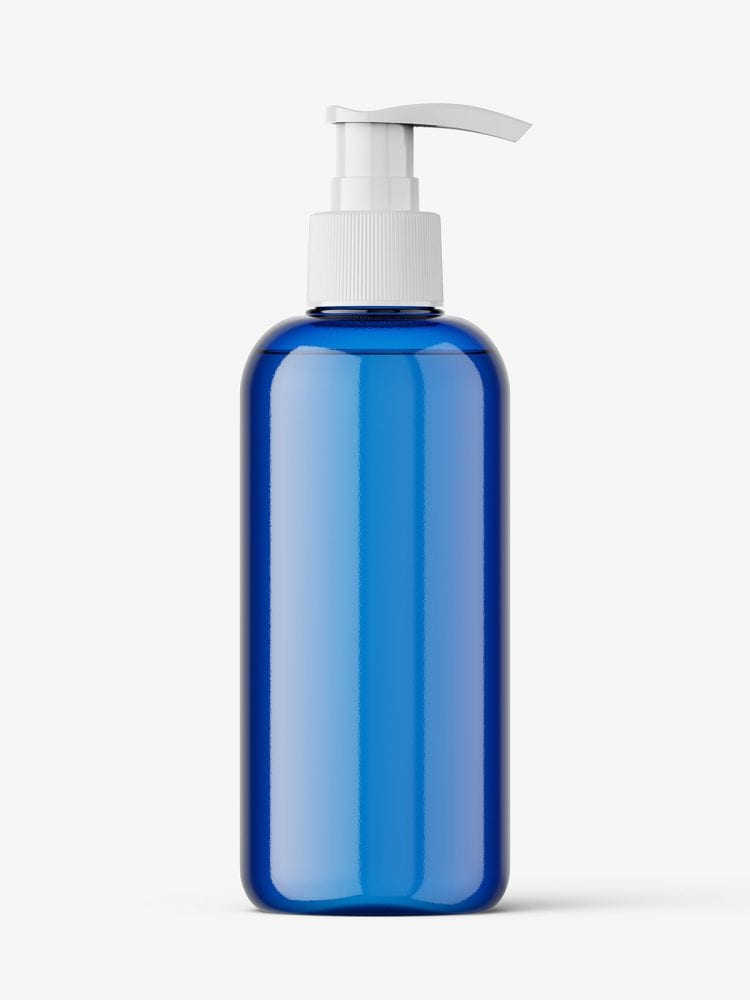 Cosmetic bottle with pump mockup / blue