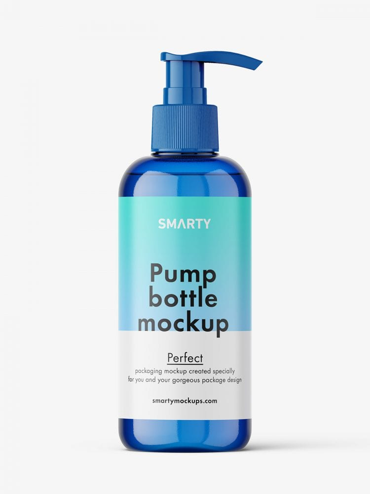 Cosmetic bottle with pump mockup / blue.zip
