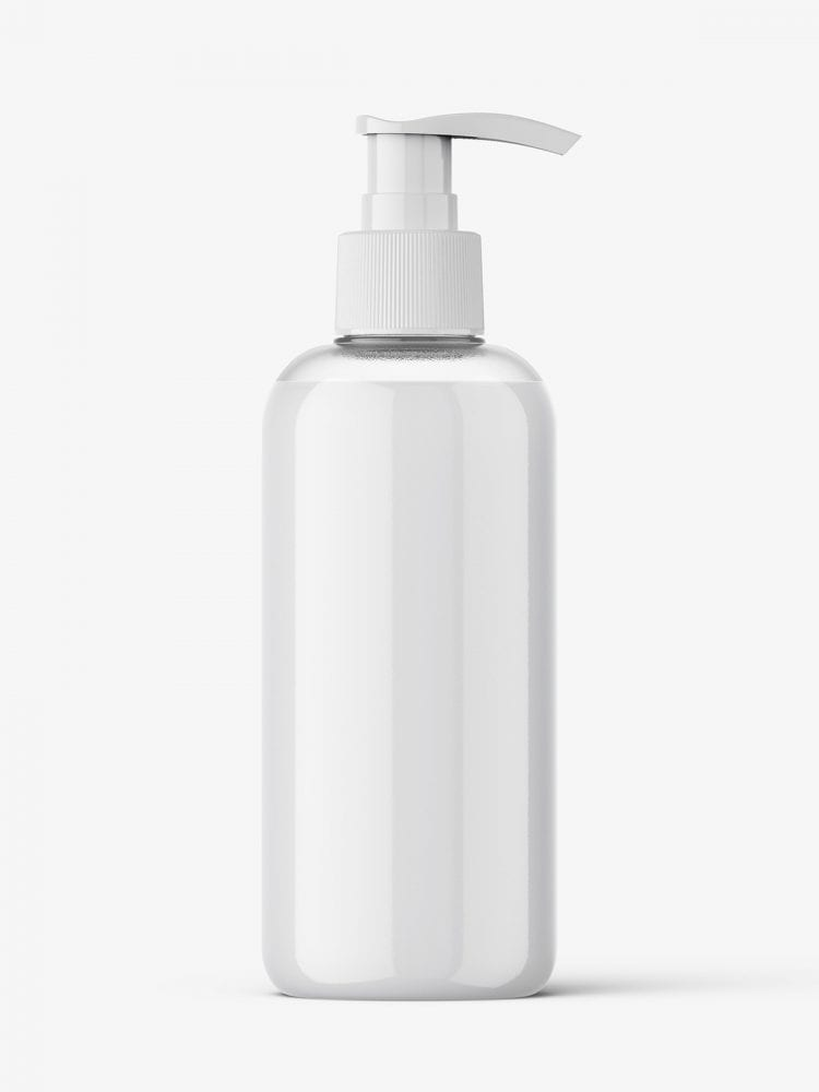 Cosmetic bottle with pump mockup / cream