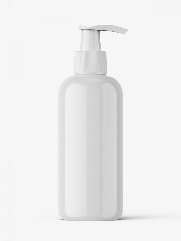 Cosmetic bottle with pump mockup / glossy