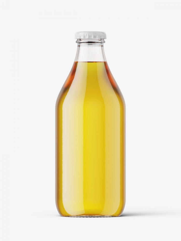 Clear beer bottle mockup