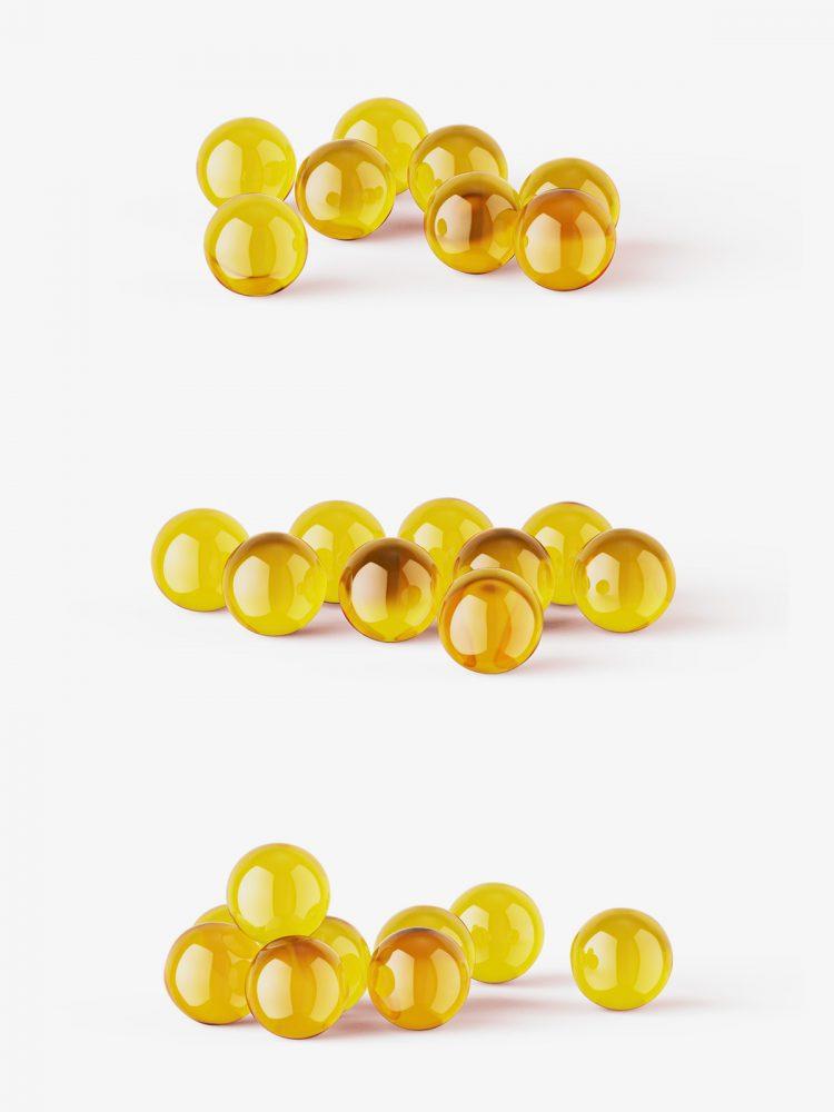 Free fish oil capsules mockup