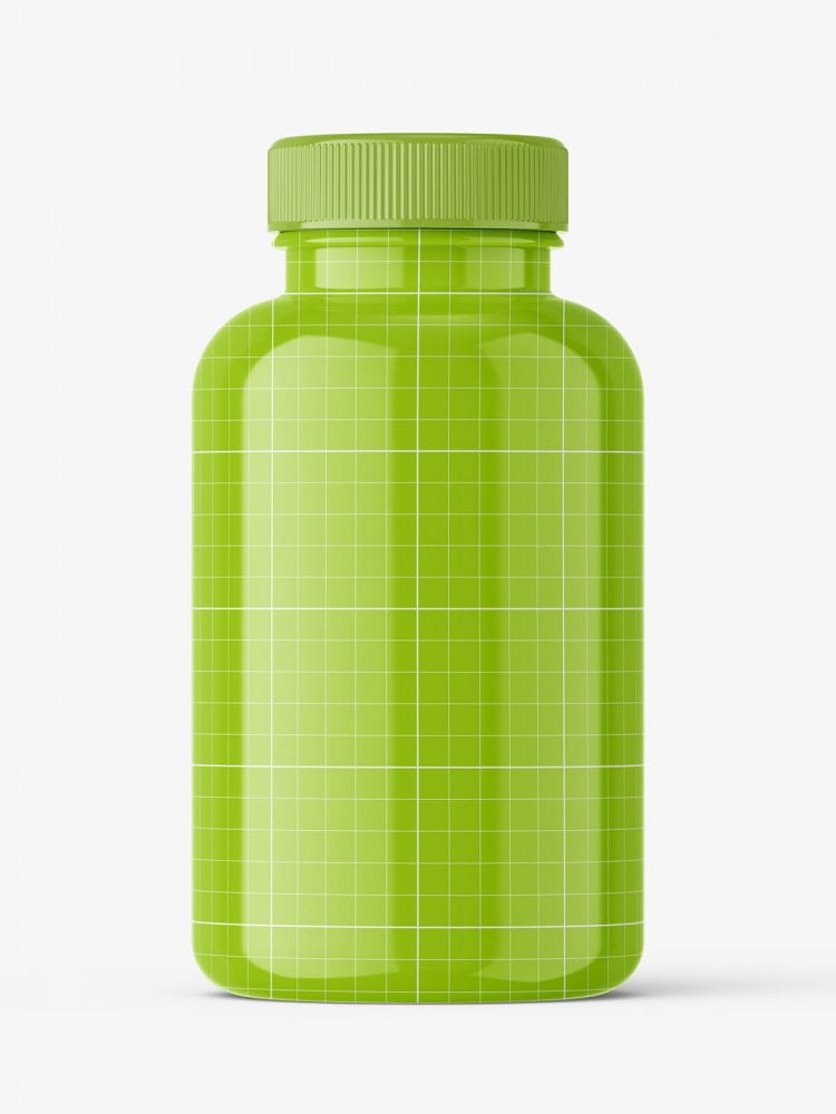 Glossy pharmaceutical jar mockup