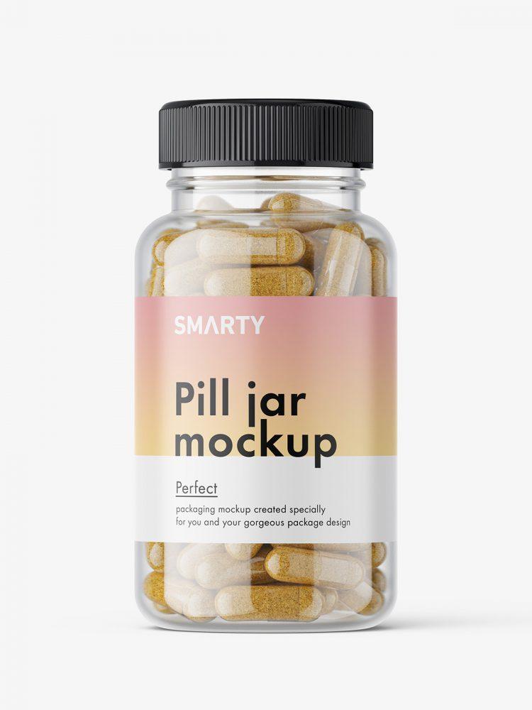 Jar with herbal capsules mockup