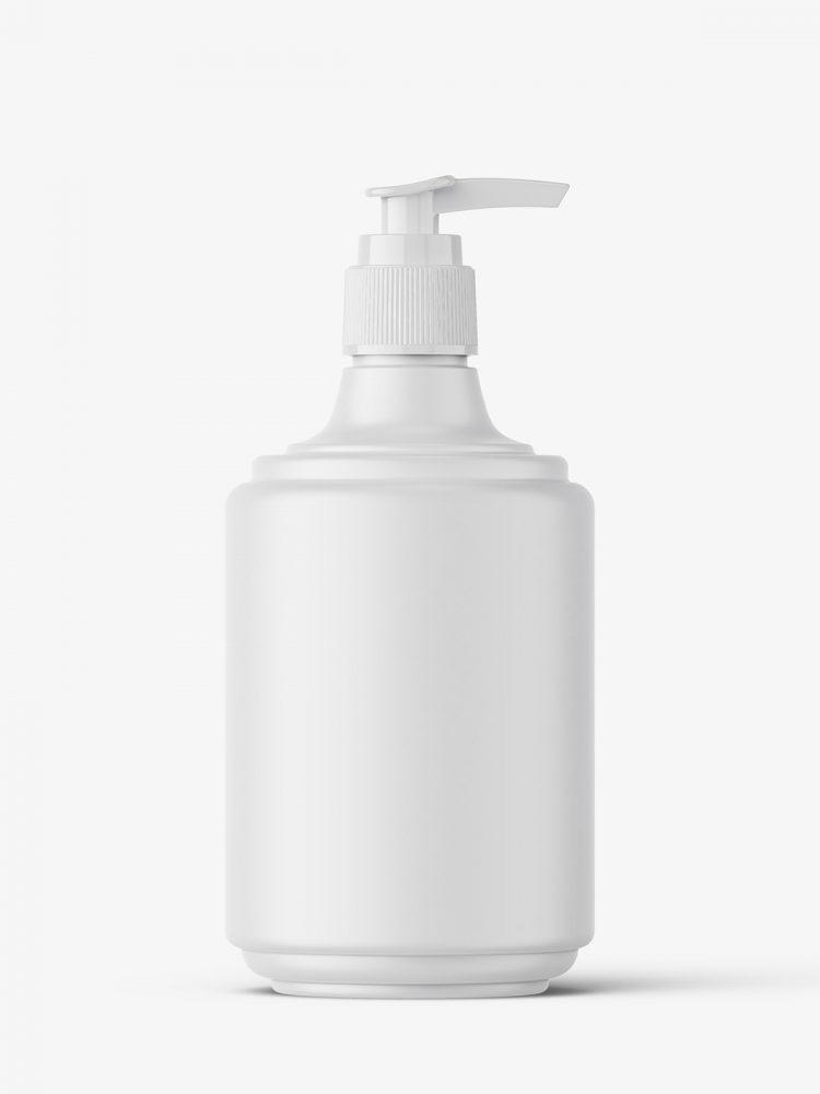 Small matt bottle with pump mockup
