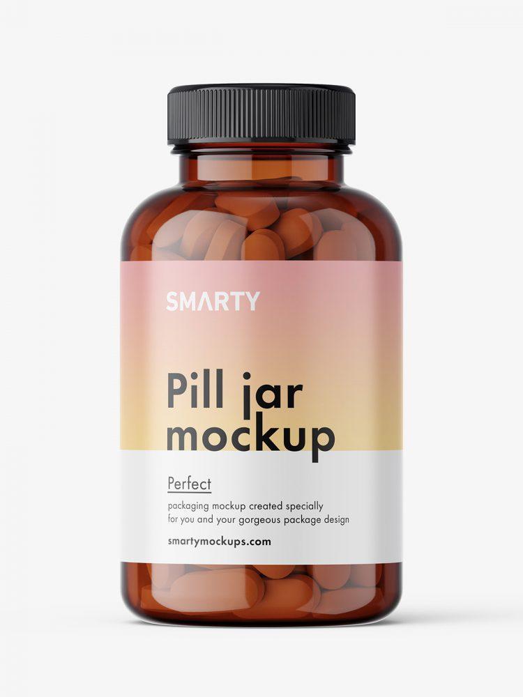 Jar with pills mockup / amber