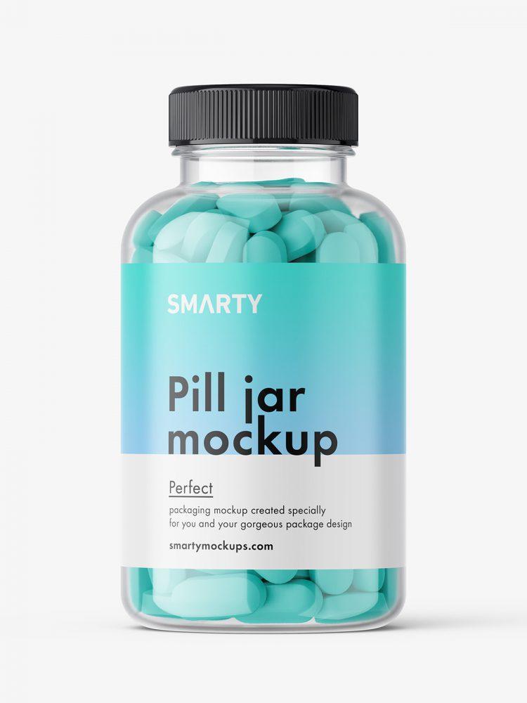 Jar with pills mockup