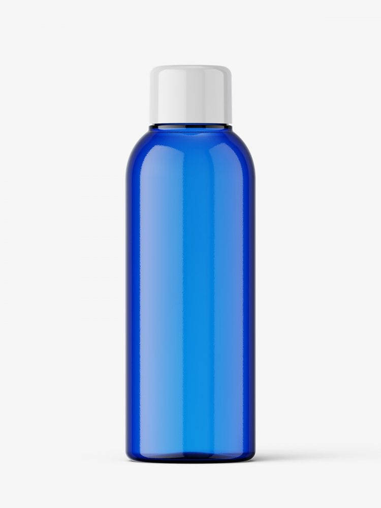 Small blue bottle with screw cap mockup
