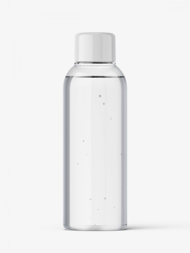 Small clear bottle with screw cap mockup