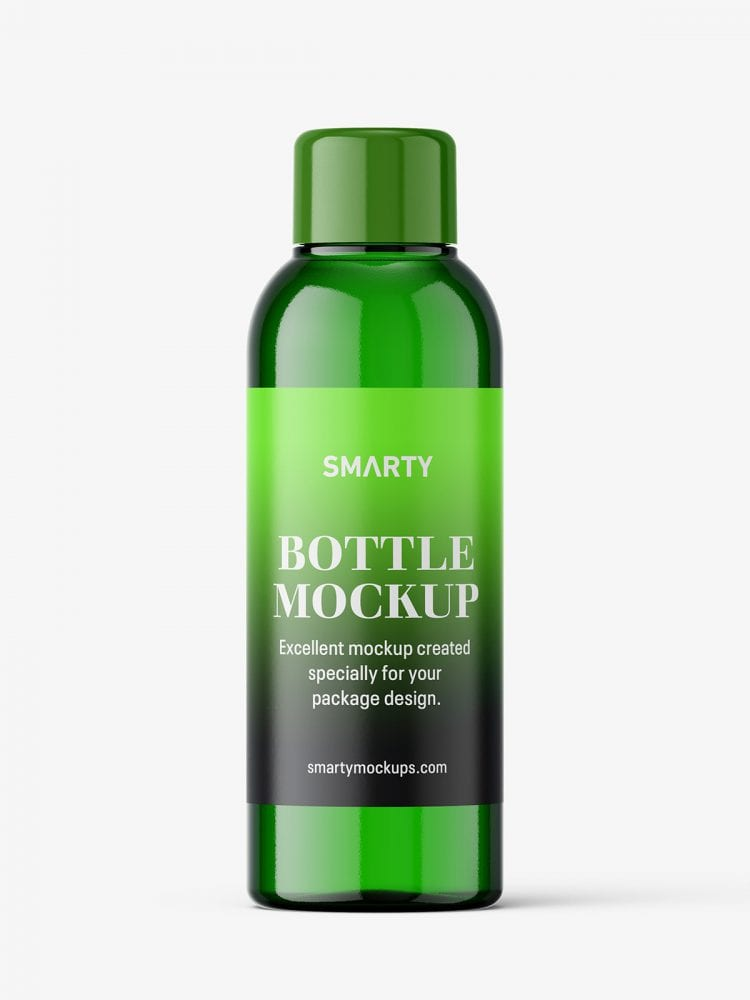 Small green bottle with screw cap mockup
