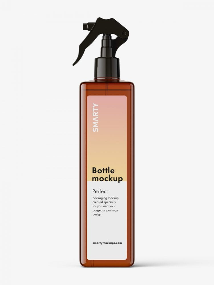 Square bottle with trigger spray mockup / amber