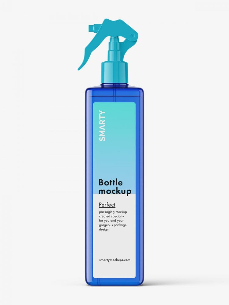 Square bottle with trigger spray mockup / blue