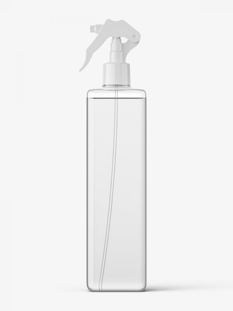 Square bottle with trigger spray mockup / clear