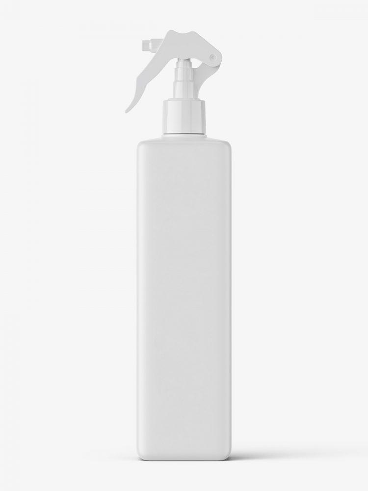 Square bottle with trigger spray mockup / matt