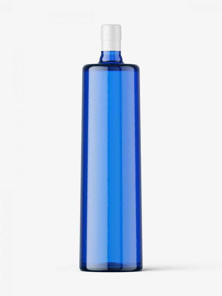 Blue vodka bottle mockup