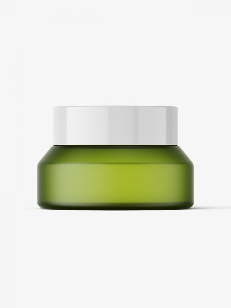 Frosted green jar mockup / 15g