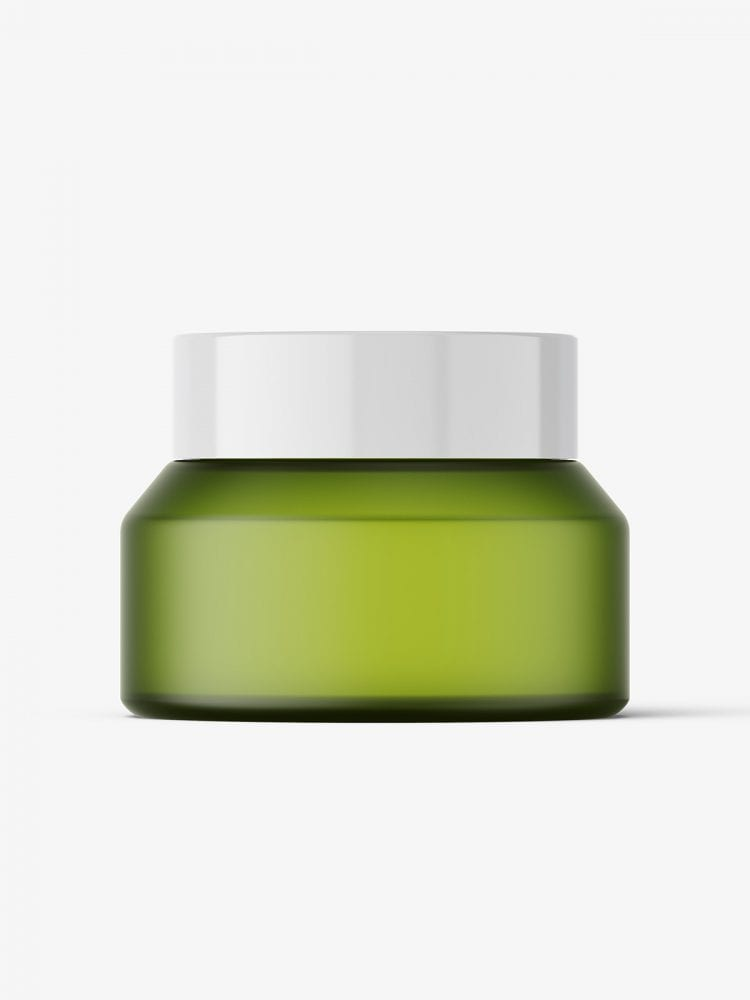 Frosted green jar mockup / 30g