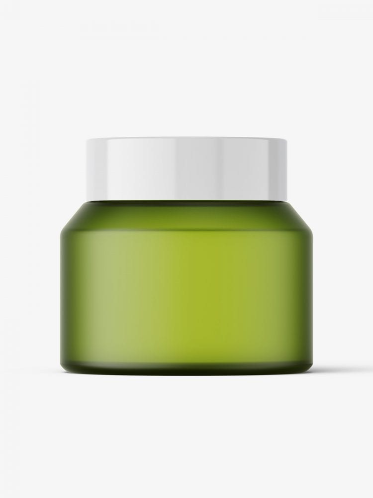 Frosted green jar mockup / 50g