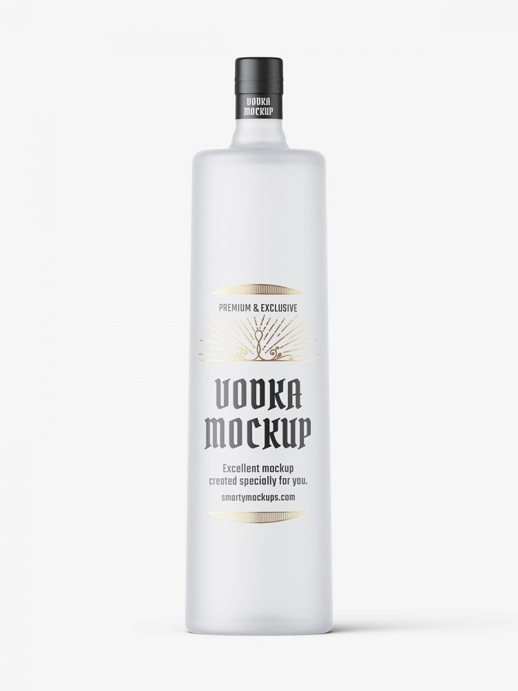 Frosted vodka bottle mockup