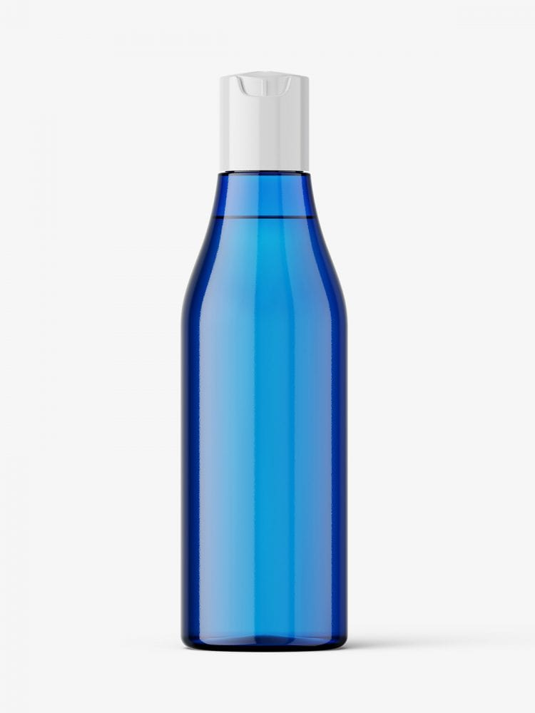 Curved bottle with disctop mockup / blue
