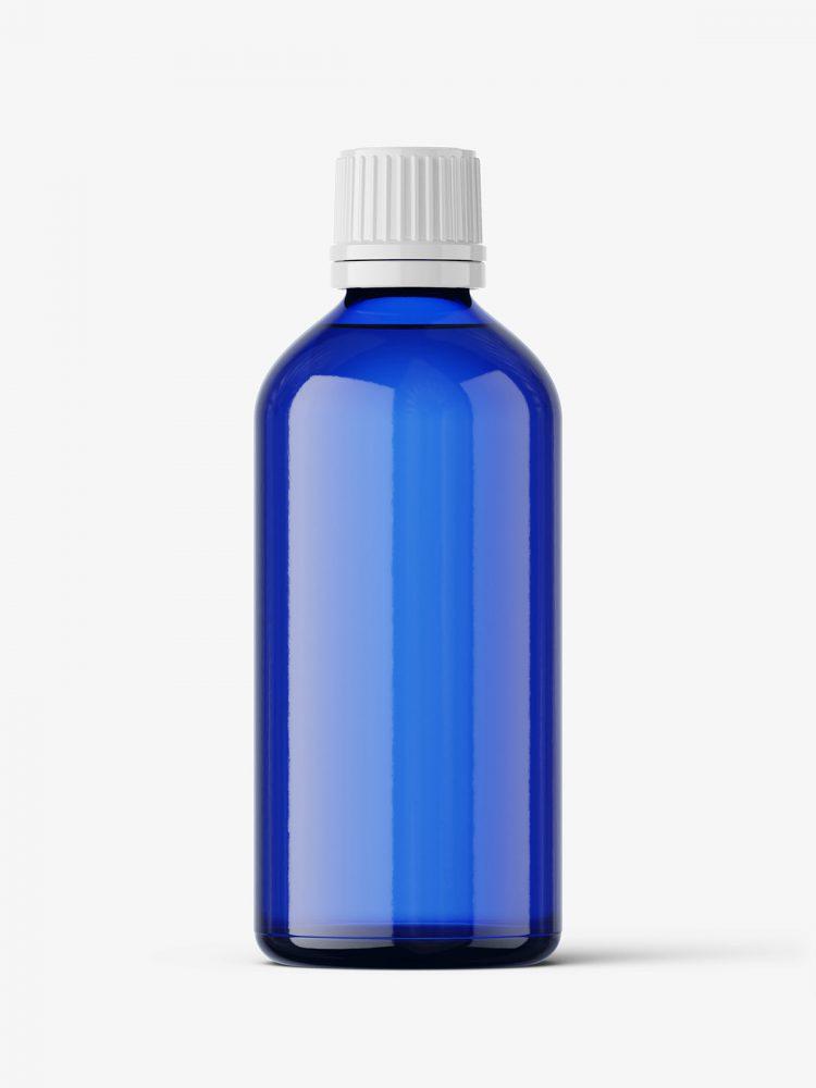 Blue bottle mockup 100 ml