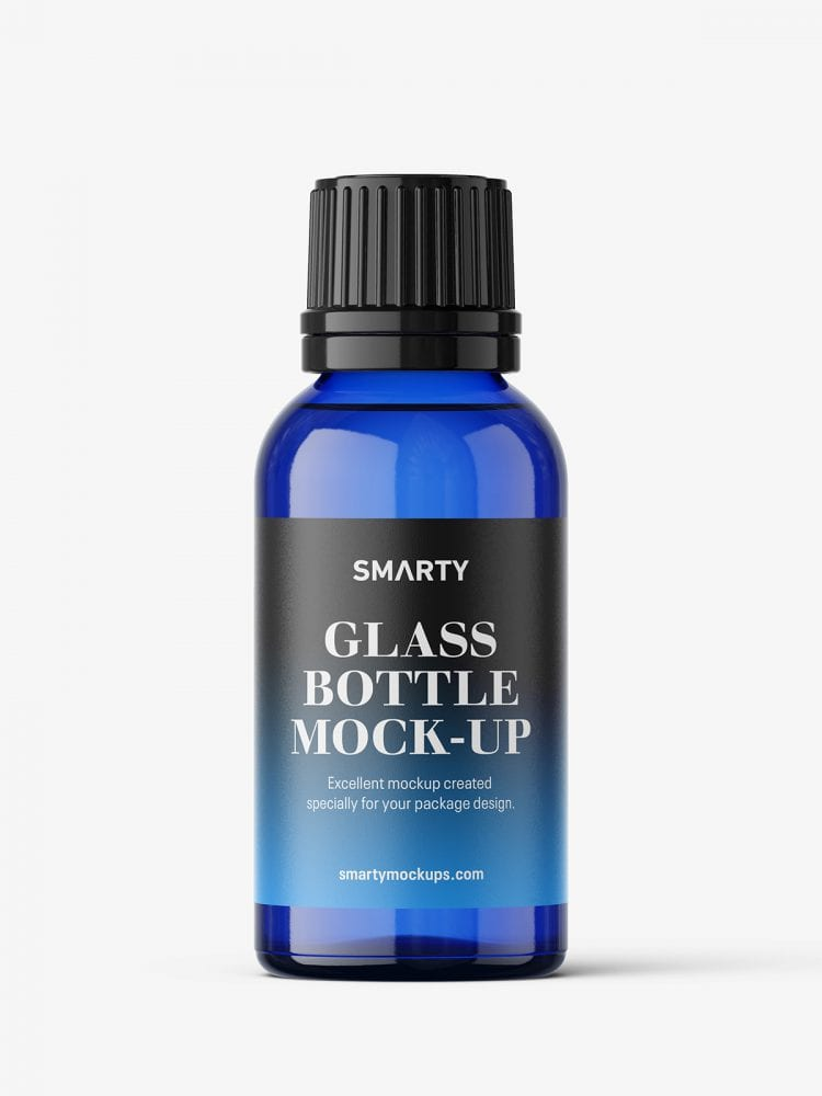 Blue bottle mockup 30 ml