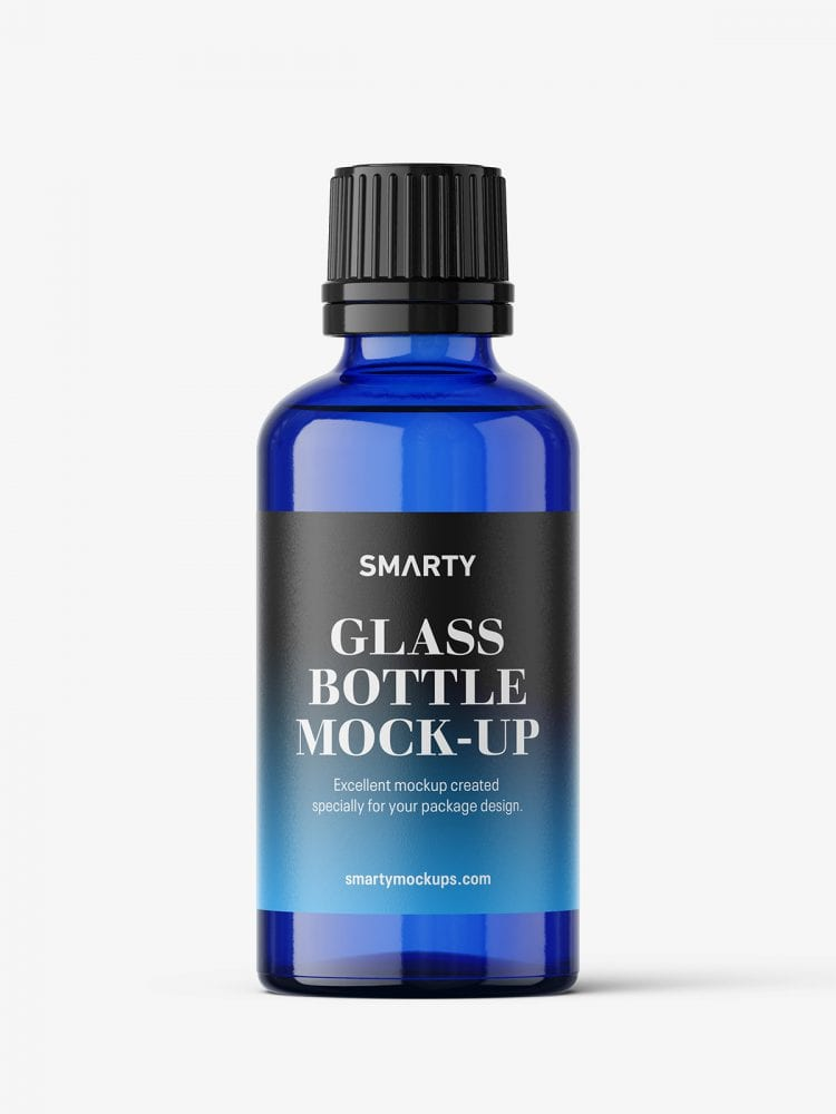 Blue bottle mockup 50 ml