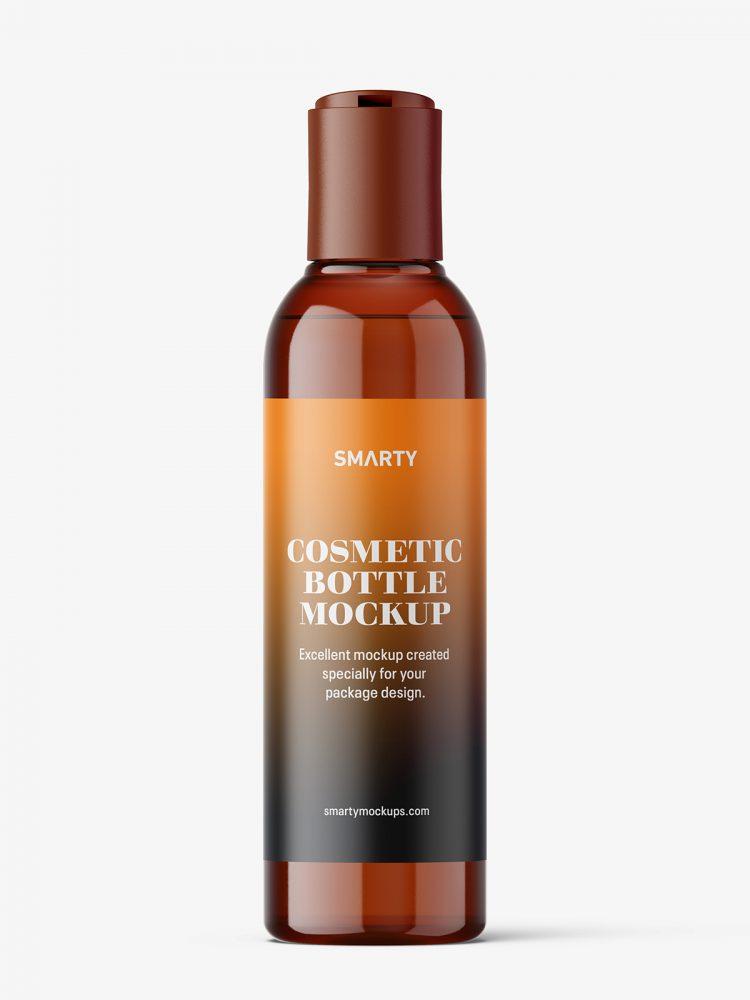 Bottle with disctop mockup / amber