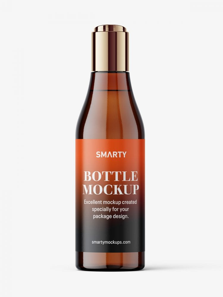 Curved bottle with disctop mockup / amber