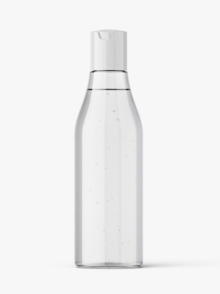 Curved bottle with disctop mockup / clear