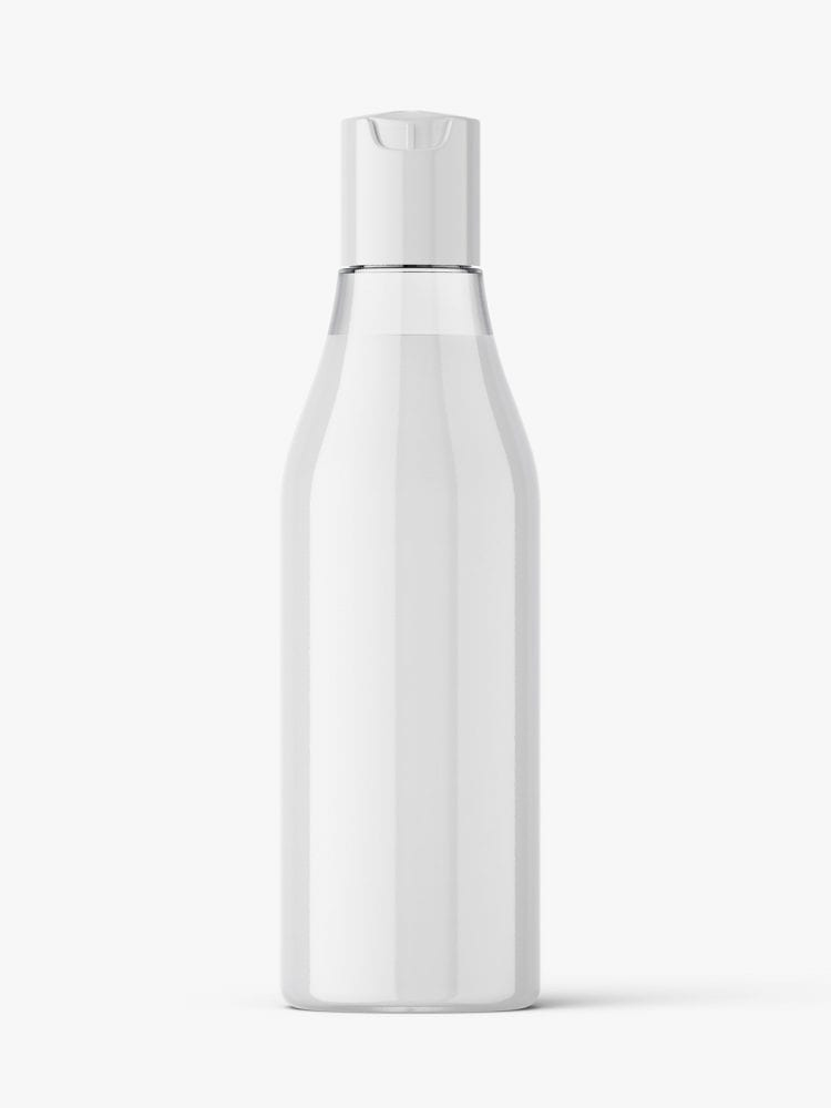 Curved bottle with disctop mockup / cream