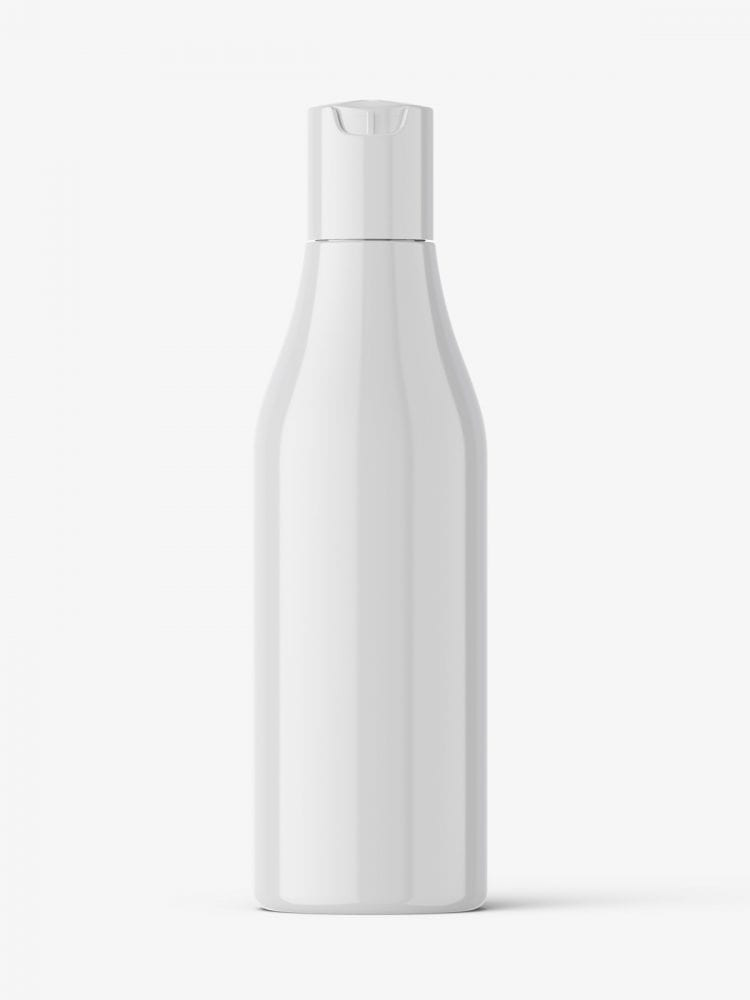 Curved bottle with disctop mockup / glossy