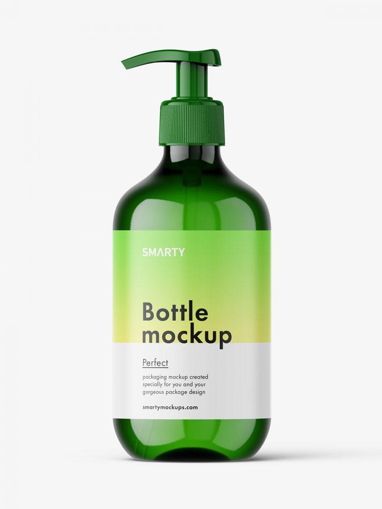Green pump bottle mockup