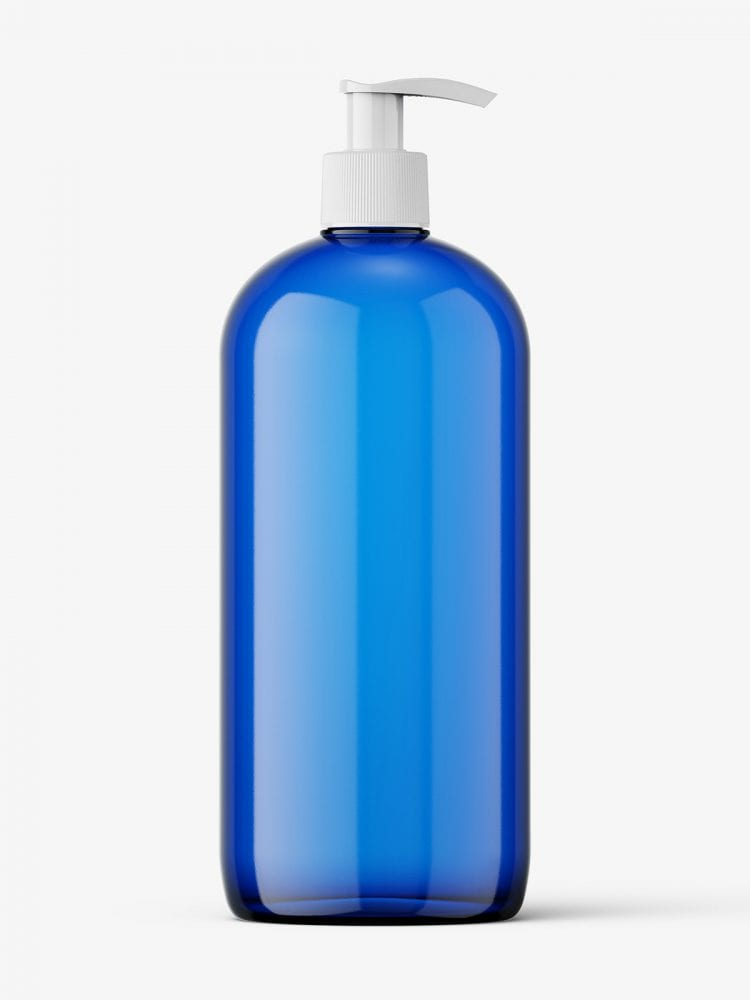 Blue bottle with pump mockup