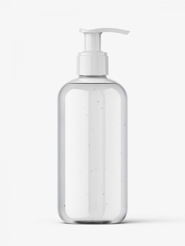 Clear pump bottle mockup