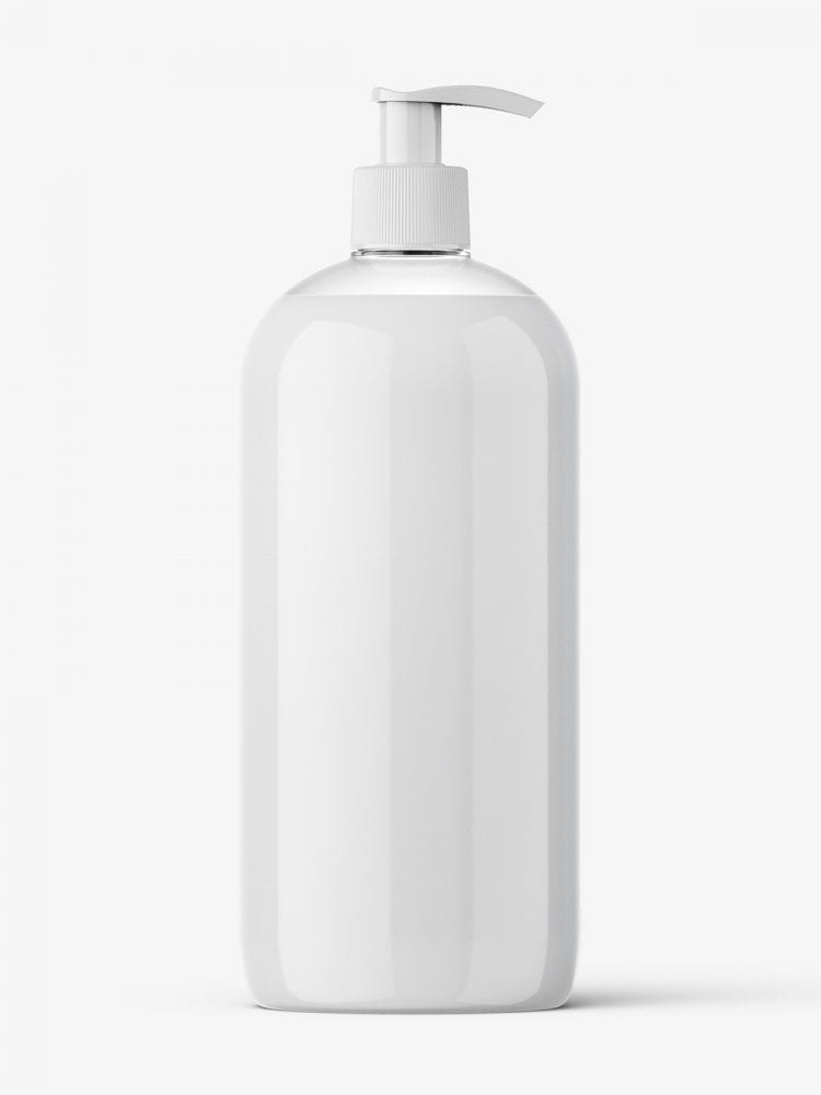 Clear bottle with cream and pump mockup