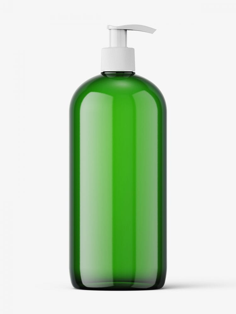 Green bottle with pump mockup