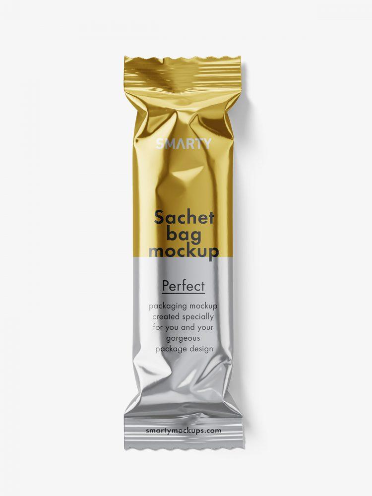 Small paper bag mockup / metallic