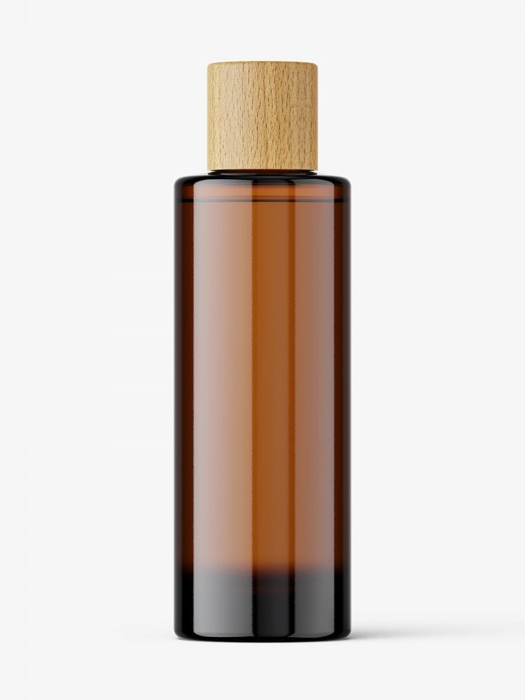 Amber cosmetic bottle with wooden cap