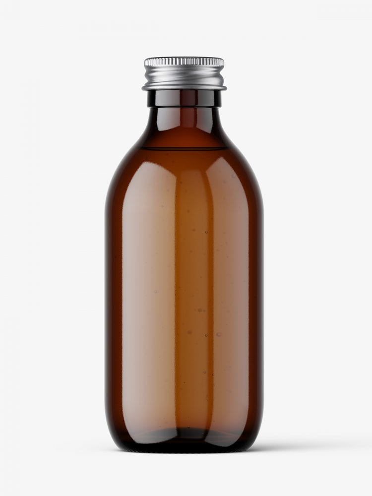 Amber bottle with silver lid mockup