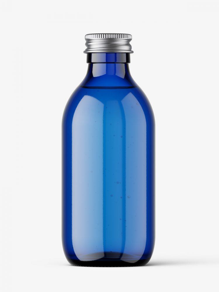 Blue bottle with silver lid mockup