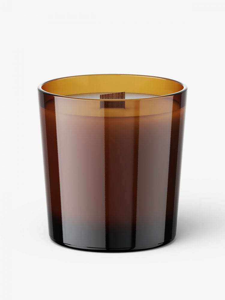 Candle with wooden wick mockup / amber