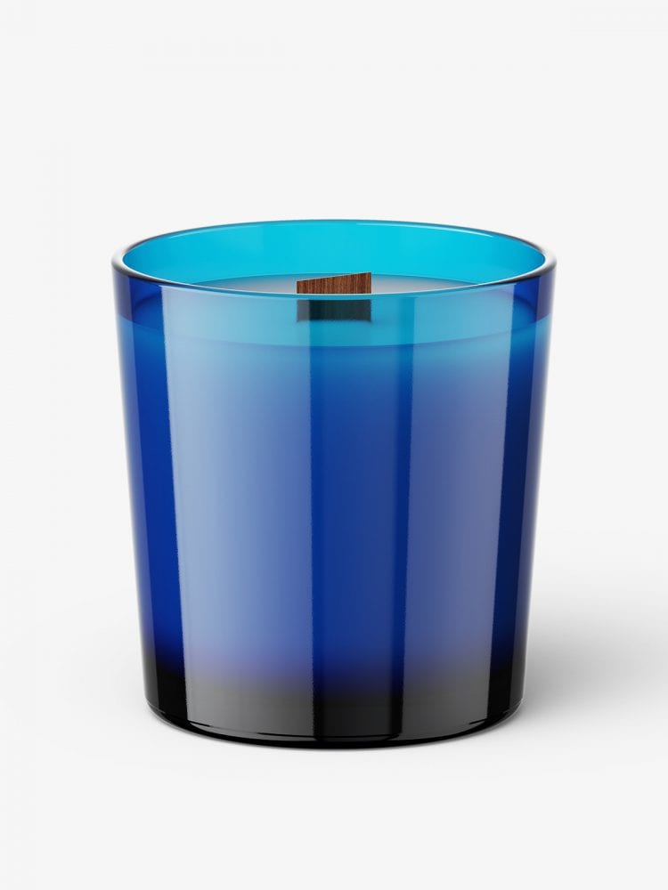 Candle with wooden wick mockup / blue