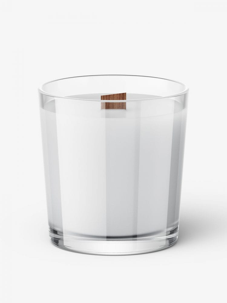 Candle with wooden wick mockup / clear